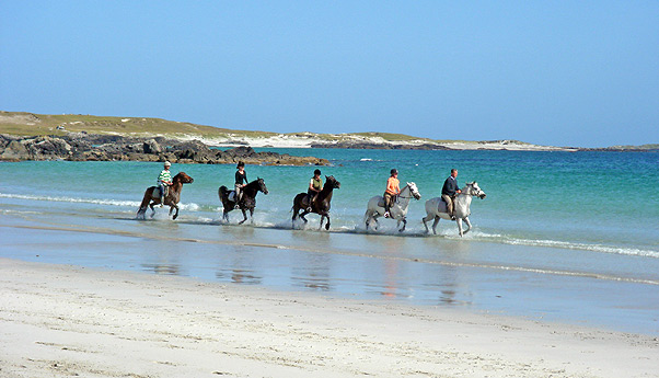Horse Riding on the beach at the Point Trekking Centre, Connemara