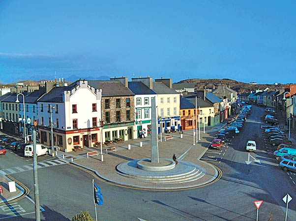 Overview of Clifden's Market Square