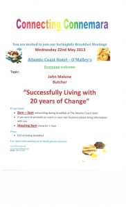 Connecting Connemara Breakfast Meeting, 22nd May, 2013 @ Atlantic Coast Hotel- O'Malley's Bar | Galway | Ireland