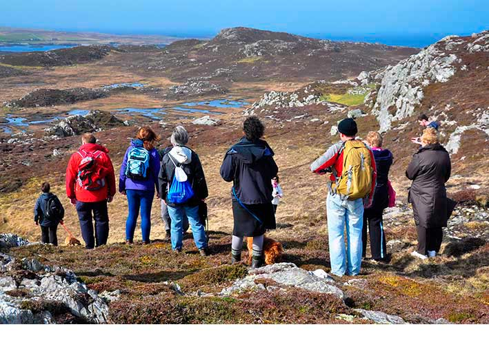 Hillwalkers enjoy the view in Connemara