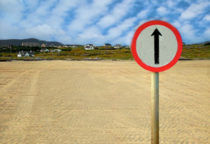 Omey Strand Road Sign
